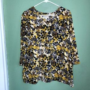 Animal Print 3/4 Length Sleeve Top Size L